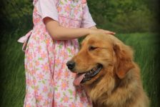 Mary Grace and our one year old Windy Knoll Stonewall Jackson, AKC Golden Retriever Sire